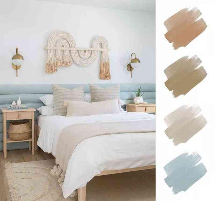 Phòng ngủ độc đáo kết hợp màu xanh aqua, cát và cam