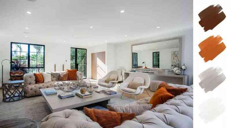 Sơn phòng khách màu trắng và cam