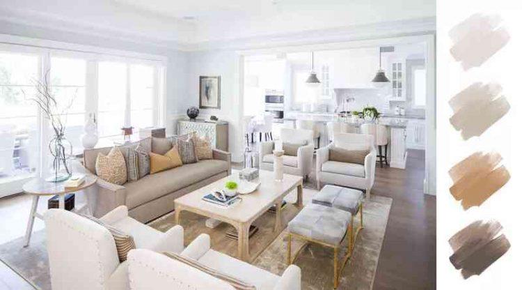 Phối màu sơn phòng khách trắng, nâu và be