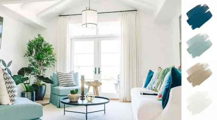 Màu sơn phòng khách đẹp với bộ ba xanh navy, xanh ngọc và trắng