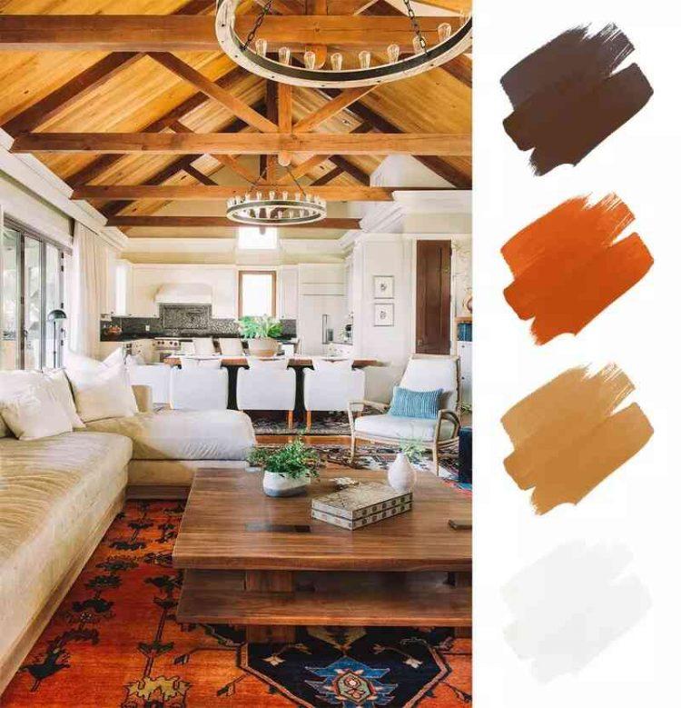Sơn phòng khách ấm cúng với bảng màu đất, gỗ và trắng