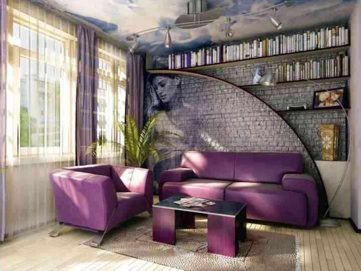 tường gạch nội thất màu tím