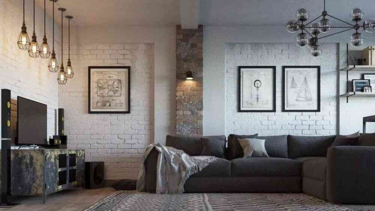 tường gạch phòng khách độc đáo