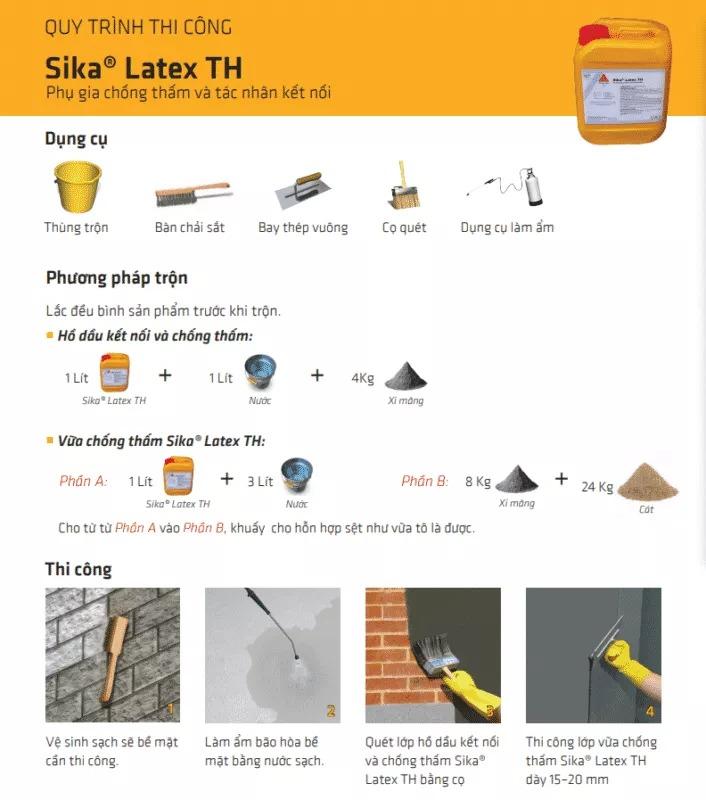 quy trình thi công sika latex TH