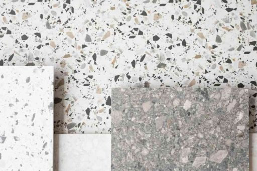 Gạch Terrazzo trắng xám