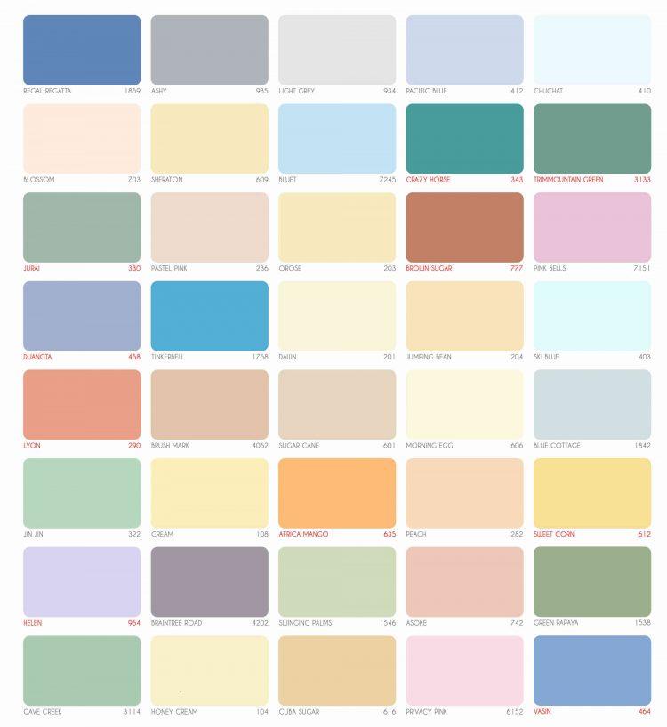 bảng màu sơn expo trong nhà