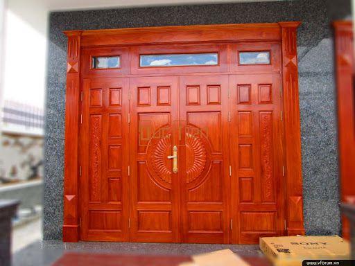 mẫu cửa sắt 4 cánh giả gỗ