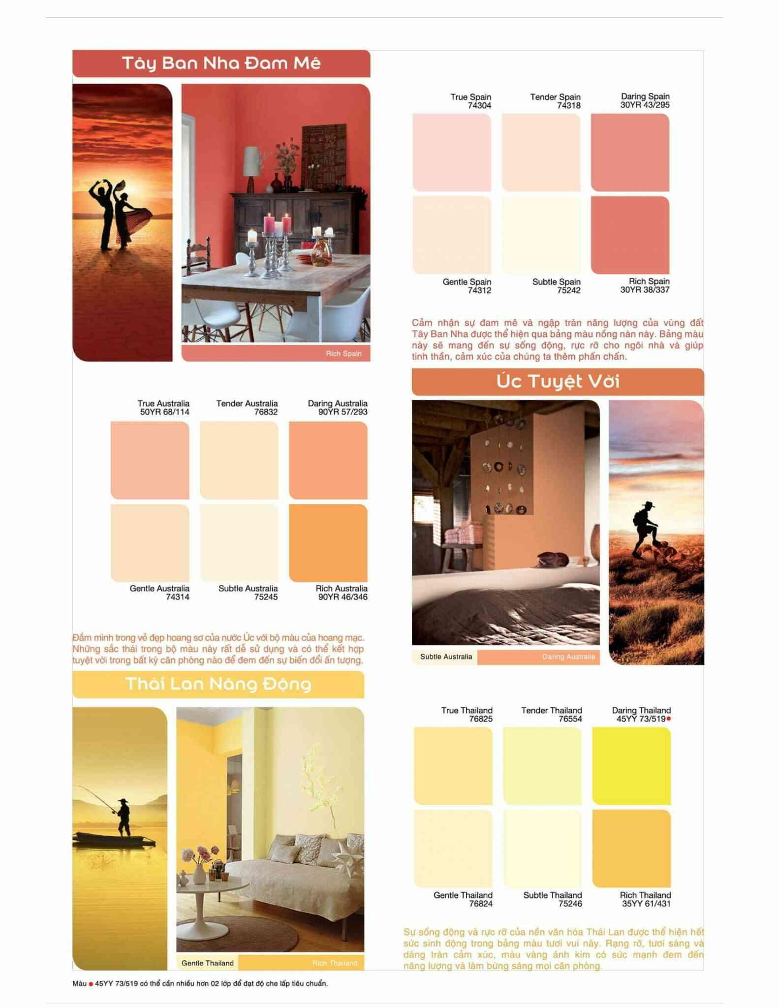 Bảng màu sơn dulux sơn ngoại thất ngoài trời dòng INSPIRE