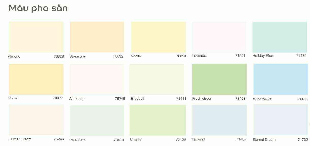 Bảng màu sơn nội thất dulux dòng INSPIRE