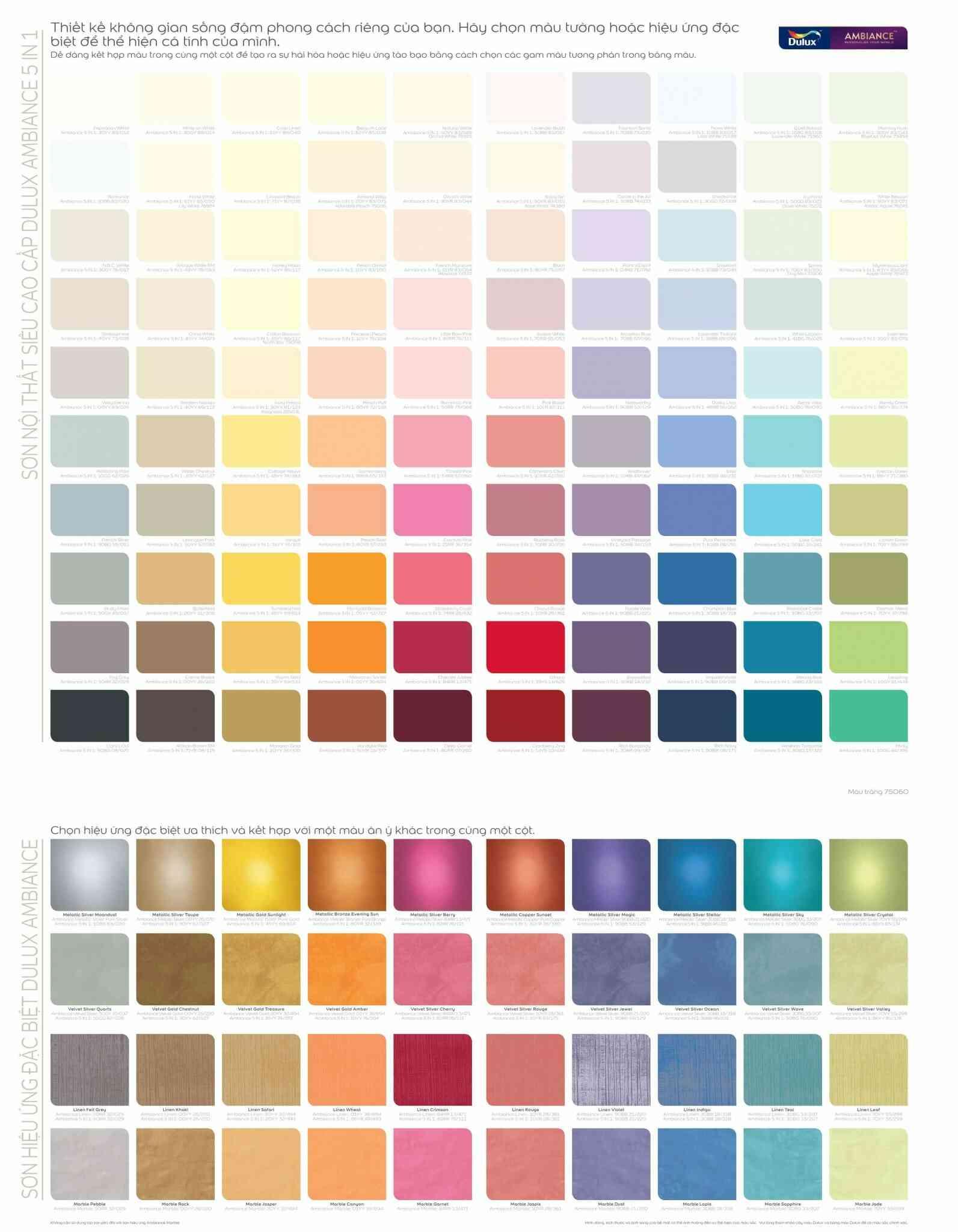 Bảng màu sơn hiệu ứng dulux