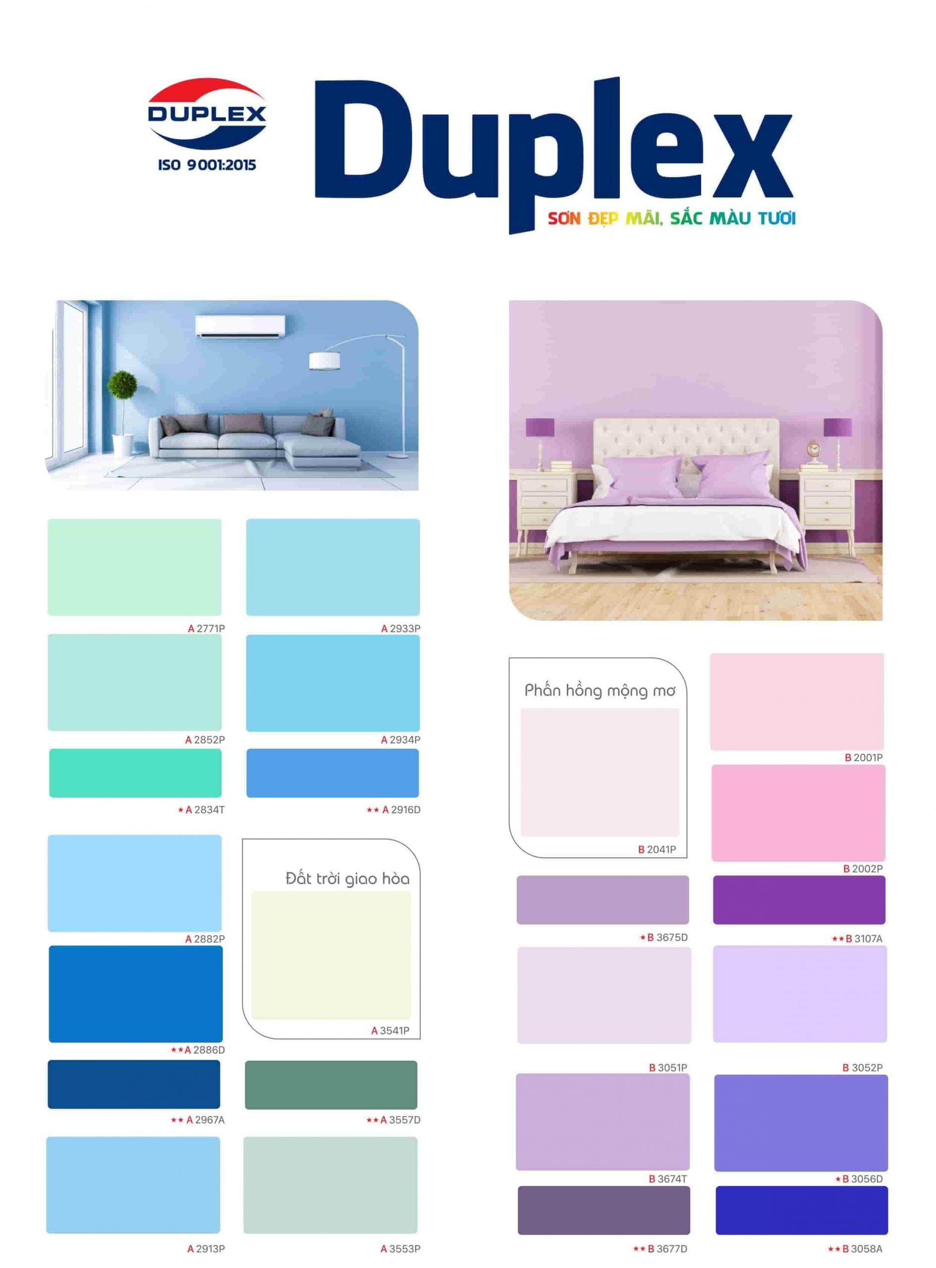 Bảng màu sơn Duplex