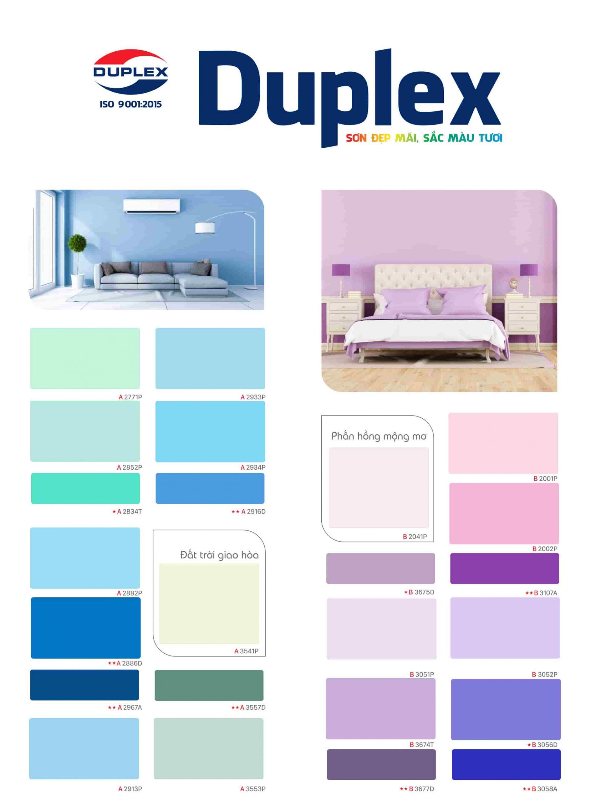 Bảng màu sơn Duplex mới nhất