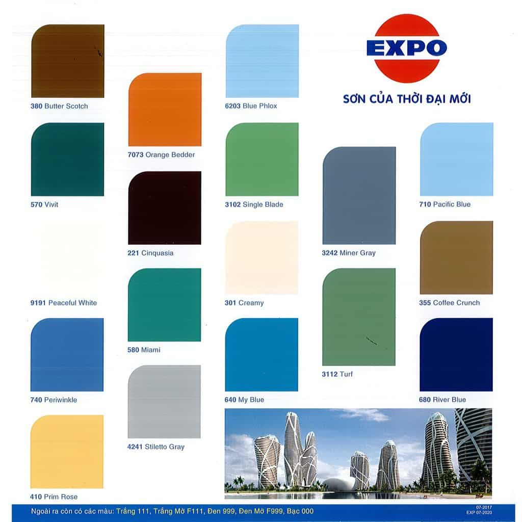 Bảng màu sơn Expo đa dạng, đẹp mắt