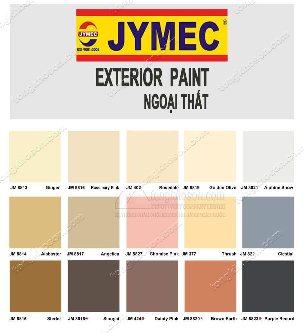 Bảng màu sơn JYMEC ngoại thất