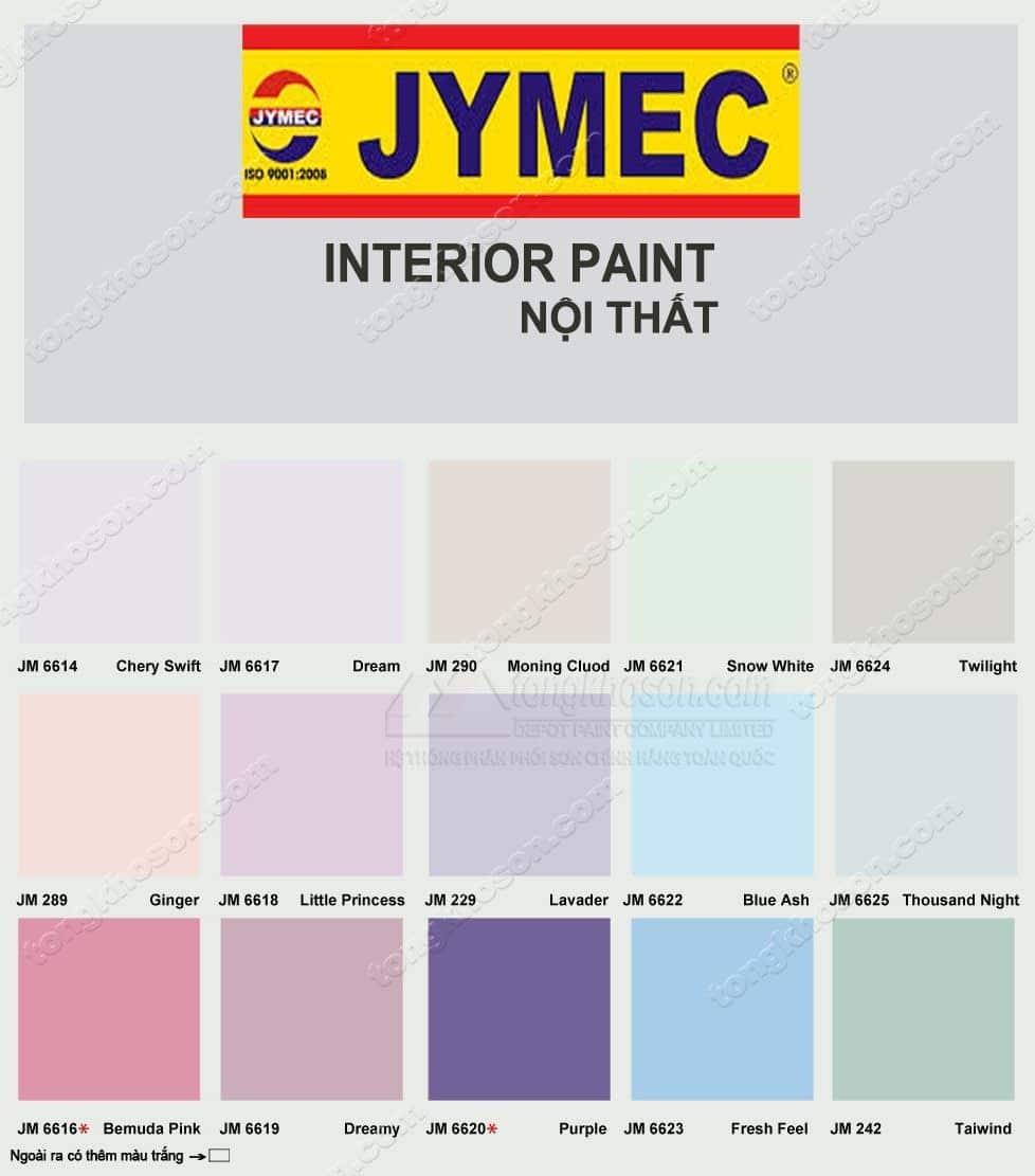 Bảng màu sơn JYMEC nội thất