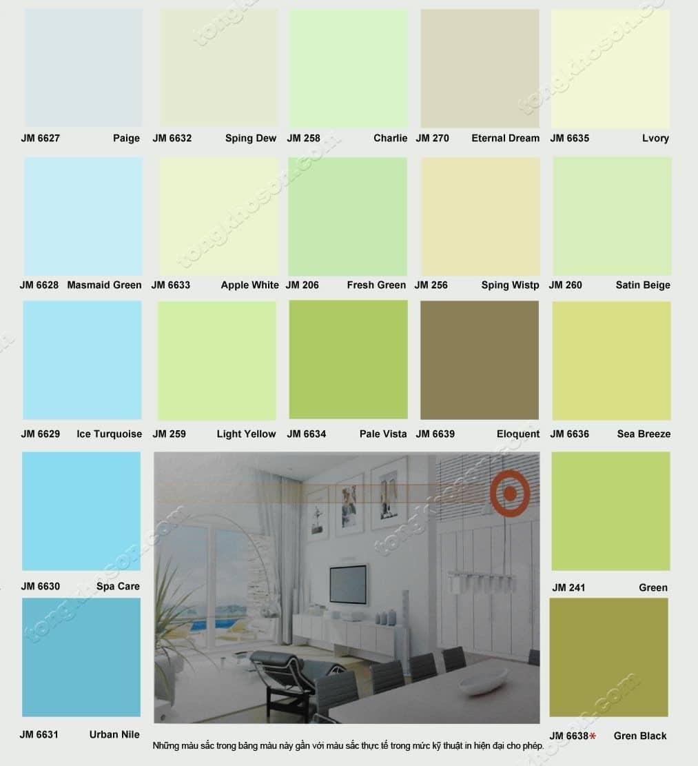 Bảng màu sơn nước JYMEC nội thất