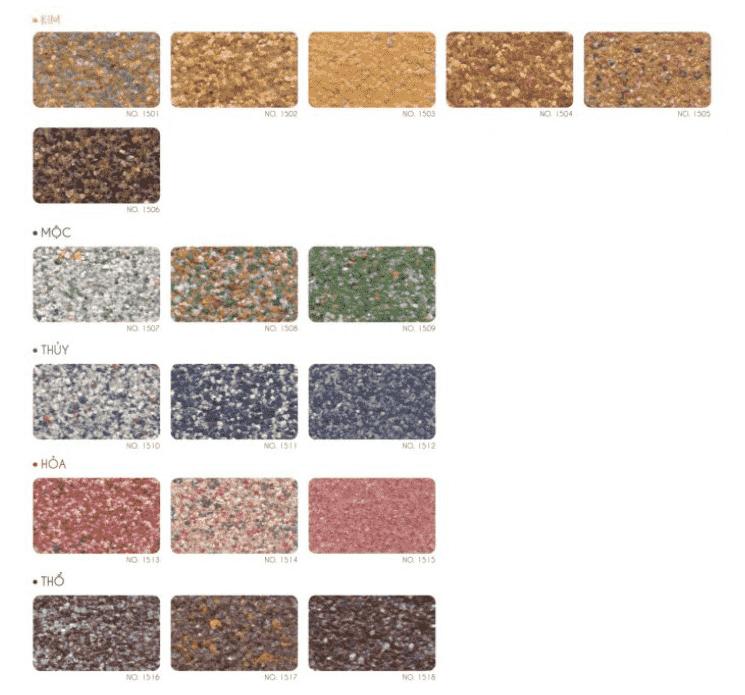 Bảng màu sơn giả đá Kova