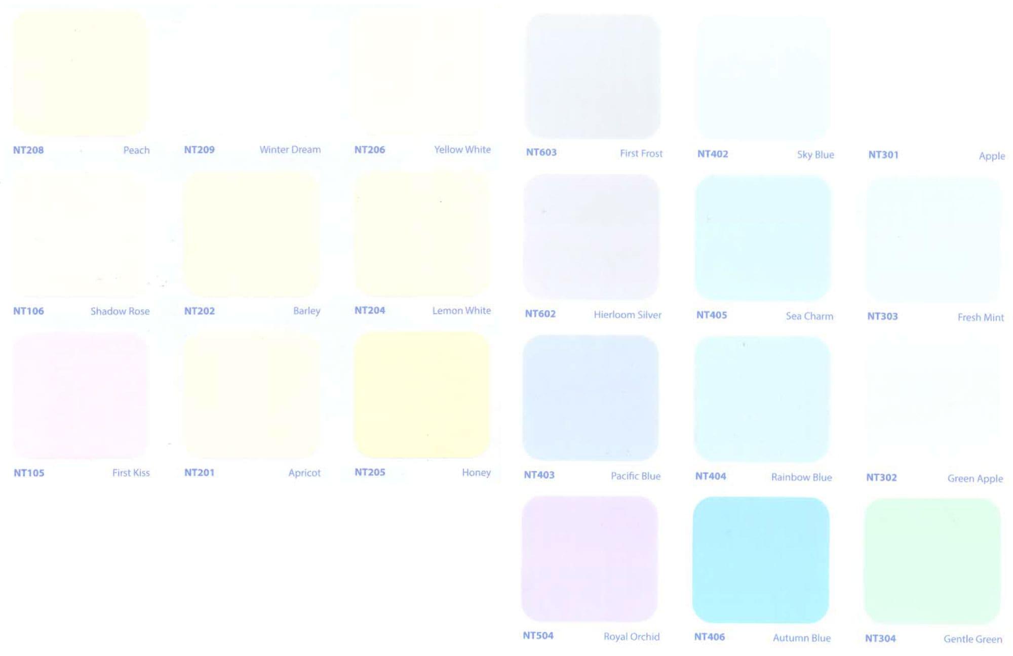 Bảng màu sơn TOA Nitto Extra nội thất
