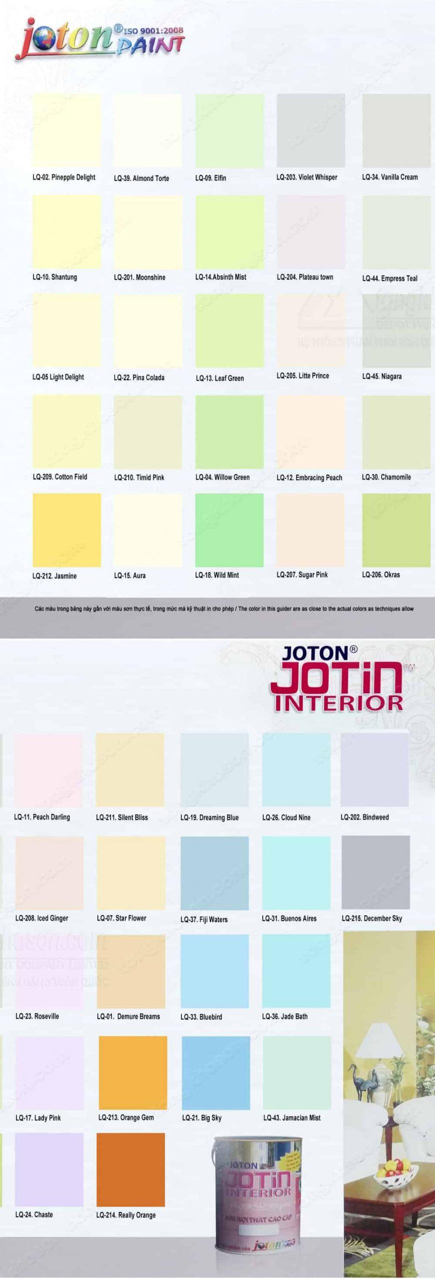 Bảng màu sơn Joton trong nhà Jotin siêu bóng