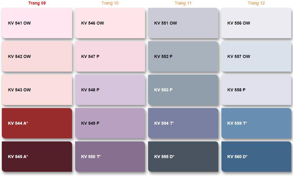 Bảng màu sơn nước Kova nội thất và ngoại thất