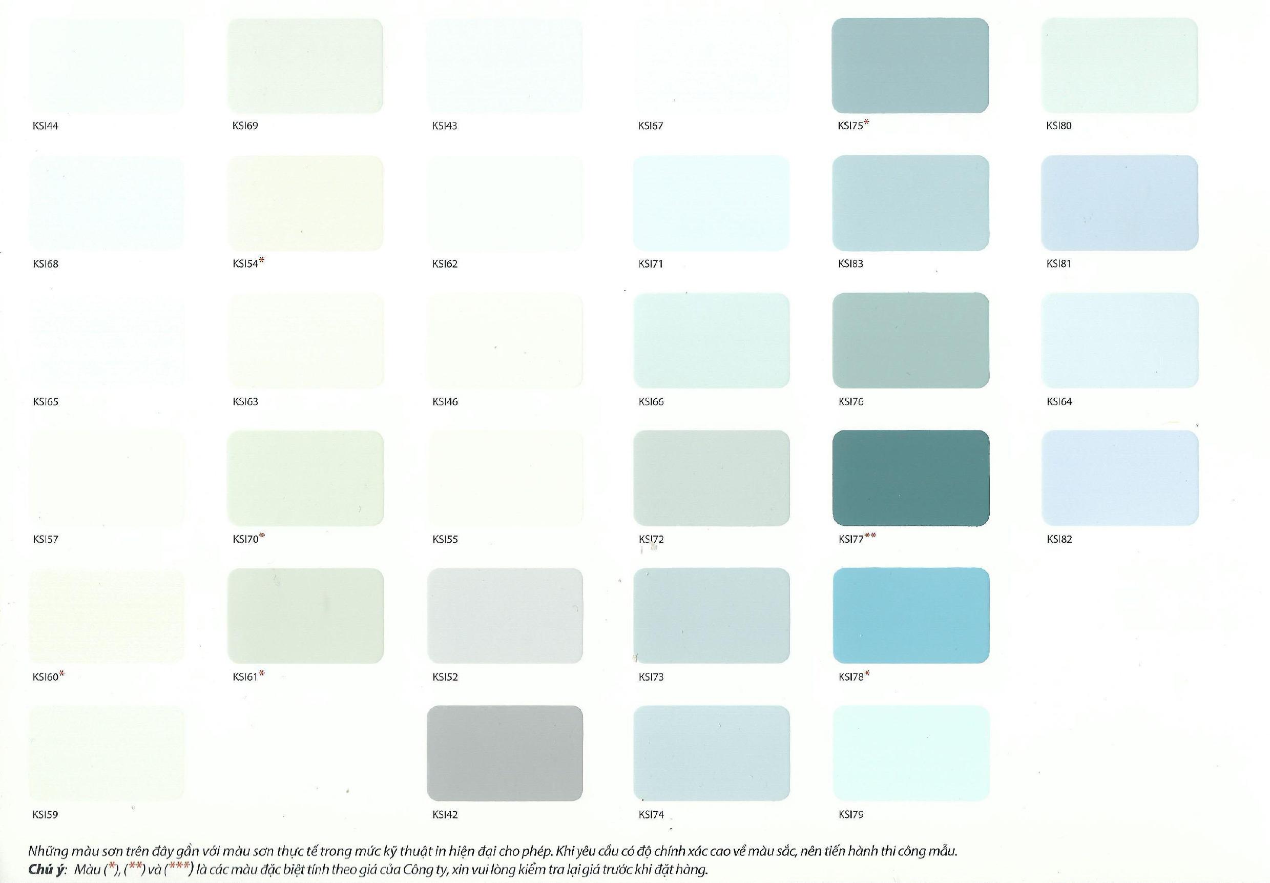 Bảng màu sơn Kansai nội thất
