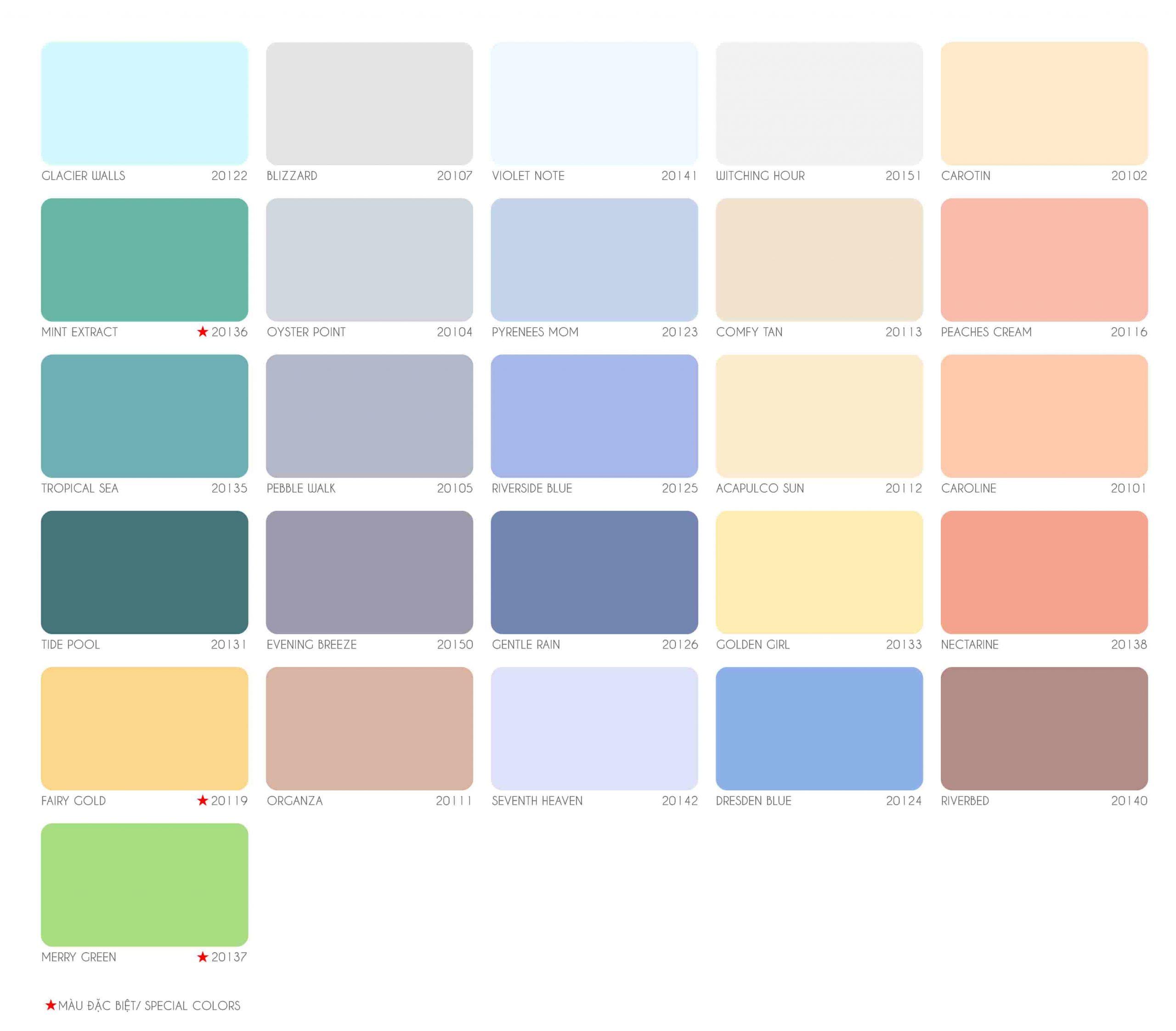 Bảng màu sơn nước Joton Atom Supper ngoại thất
