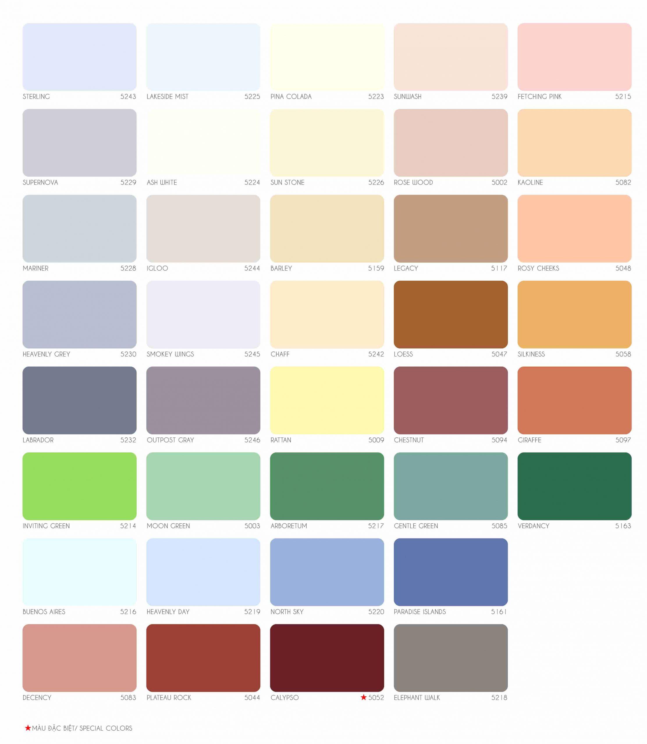 Bảng màu sơn nước ngoài trời Joton FA