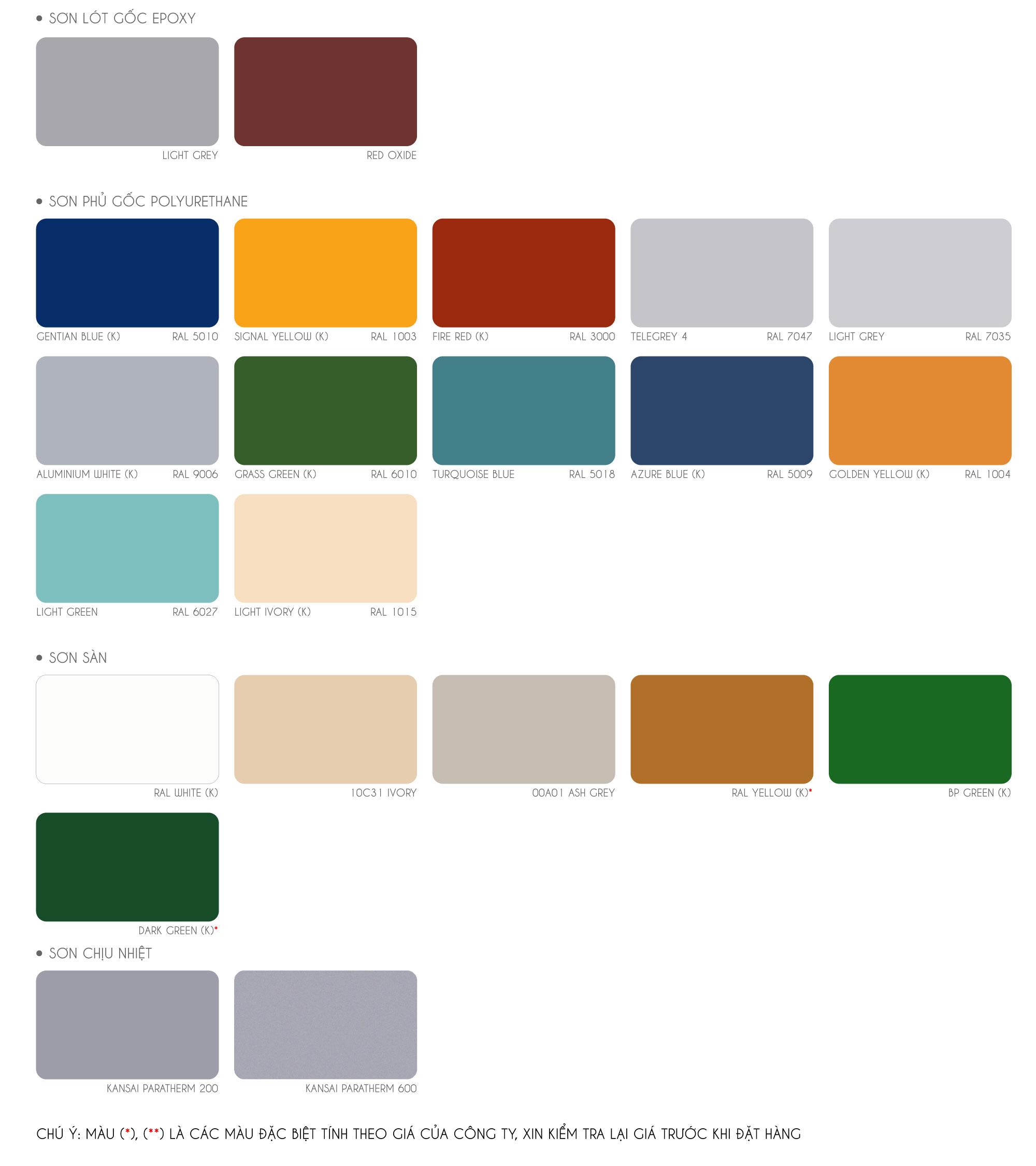 Bảng màu sơn Kansai công nghiệp