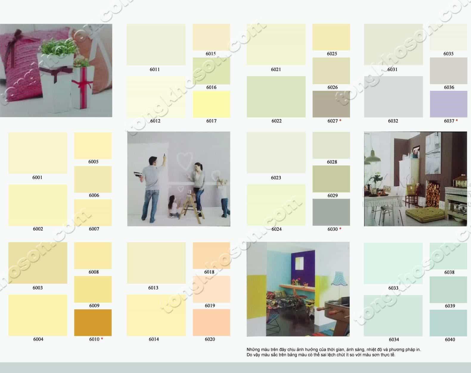 Bảng màu sơn Behr nội thất