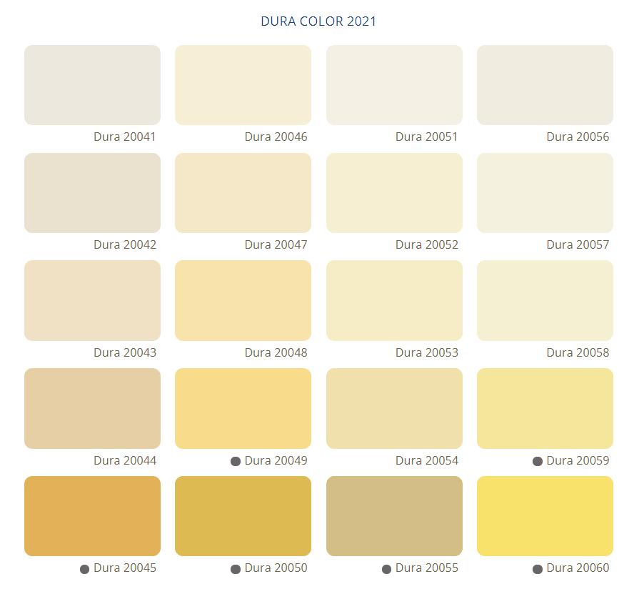 Bảng Màu Sơn Nước Dura - Tone màu vàng