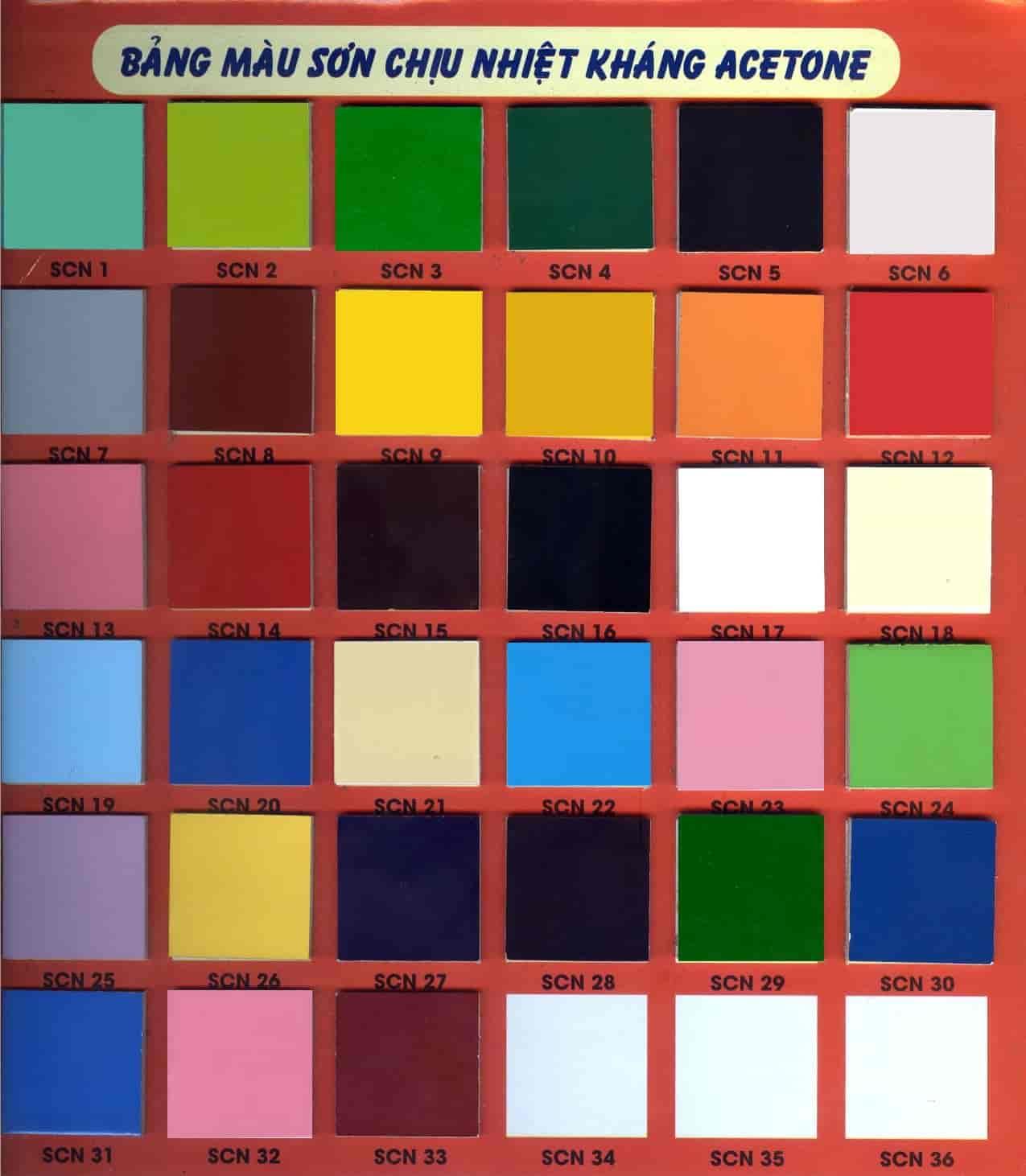 Bảng màu sơn Hoa Việt chịu nhiệt kháng acetone