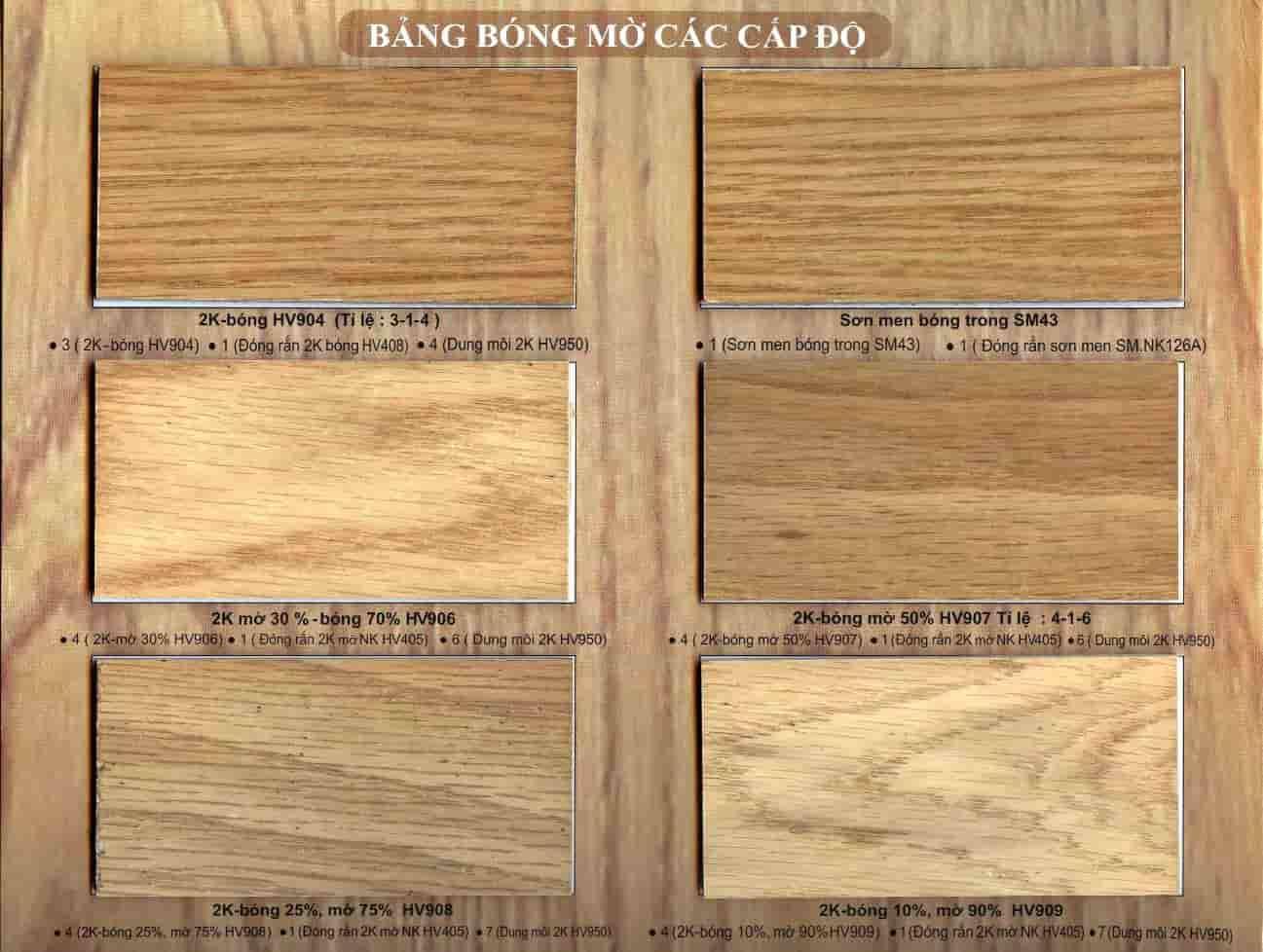 Bảng màu sơn gỗ tự nhiên Hoa Việt