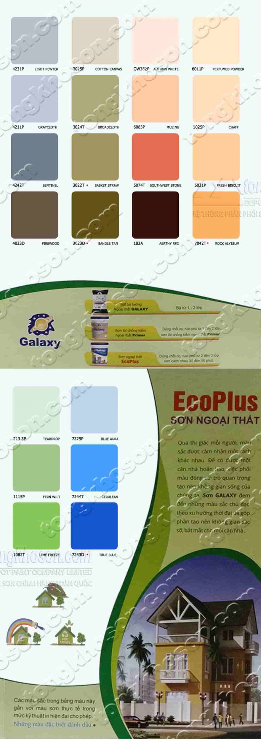 Bảng màu sơn nước Galaxy Eco Plus ngoại thất