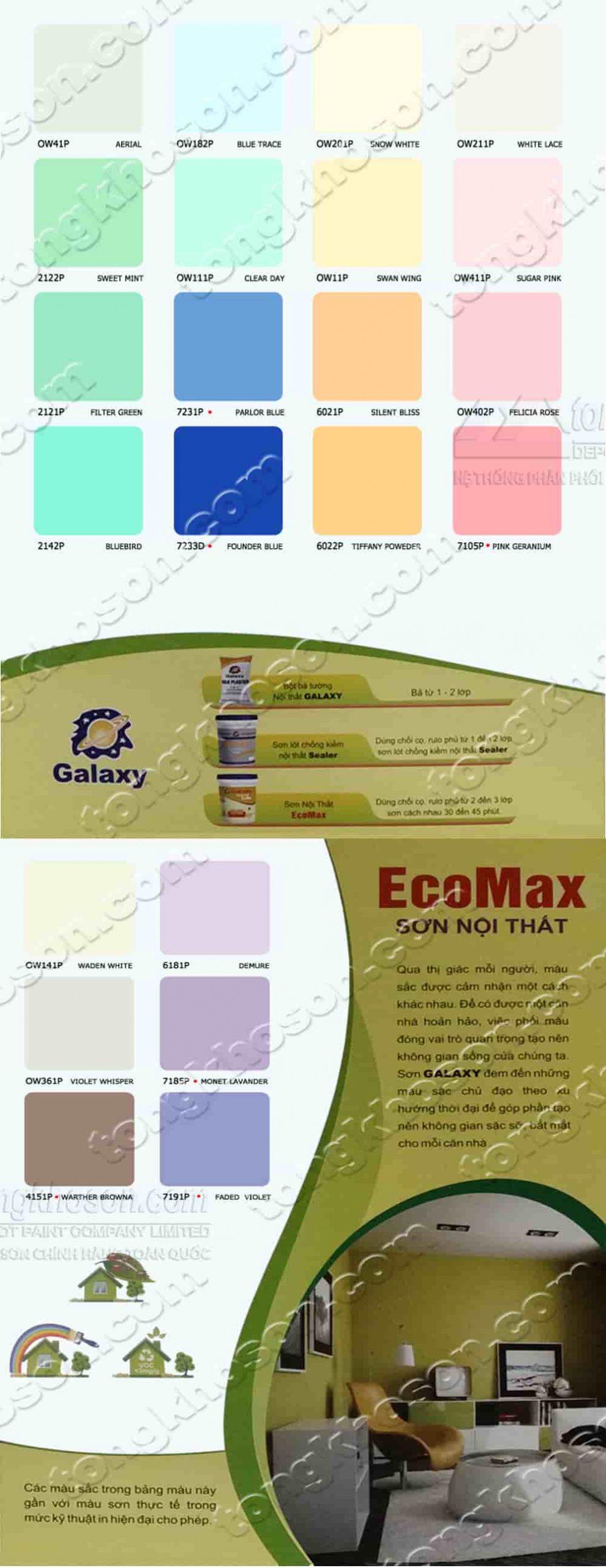 Bảng màu sơn nước Galaxy Eco Max nội thất