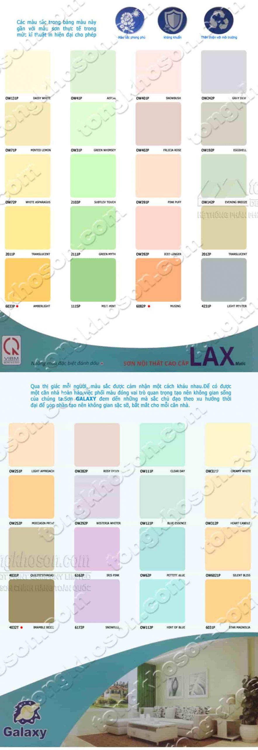 Bảng màu sơn nội thất Galaxy Lax Matic