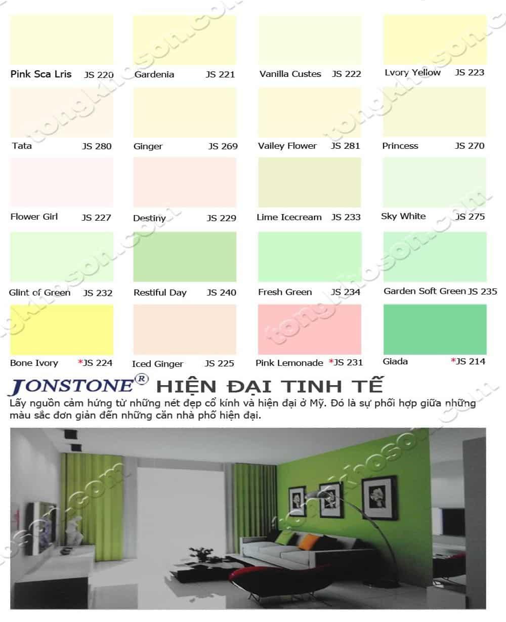 Bảng màu sơn nội thất Jonstone