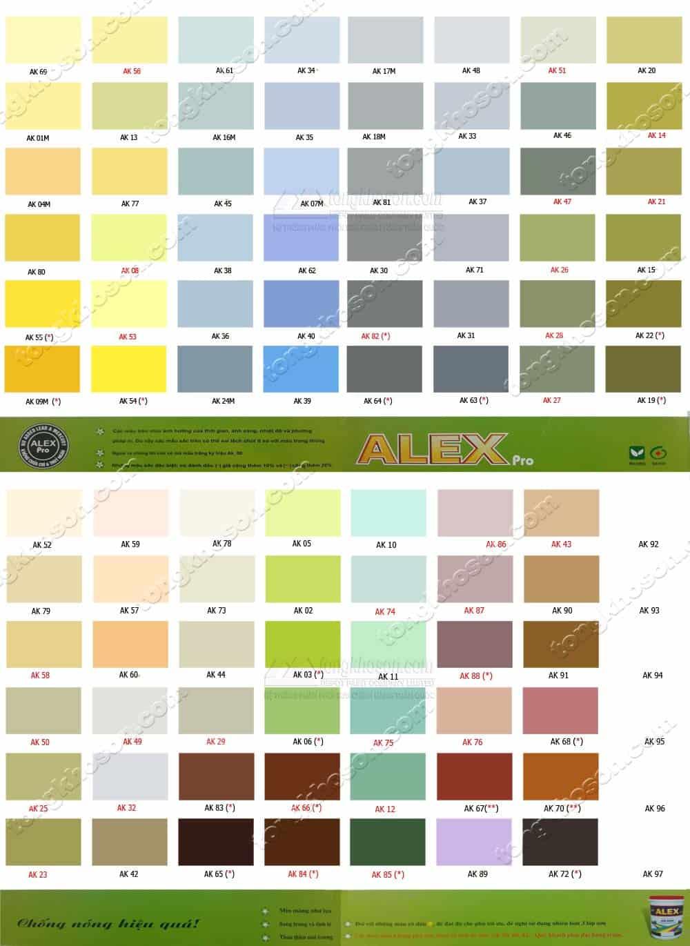 Bảng màu sơn ngoài trời Alex Pro bóng