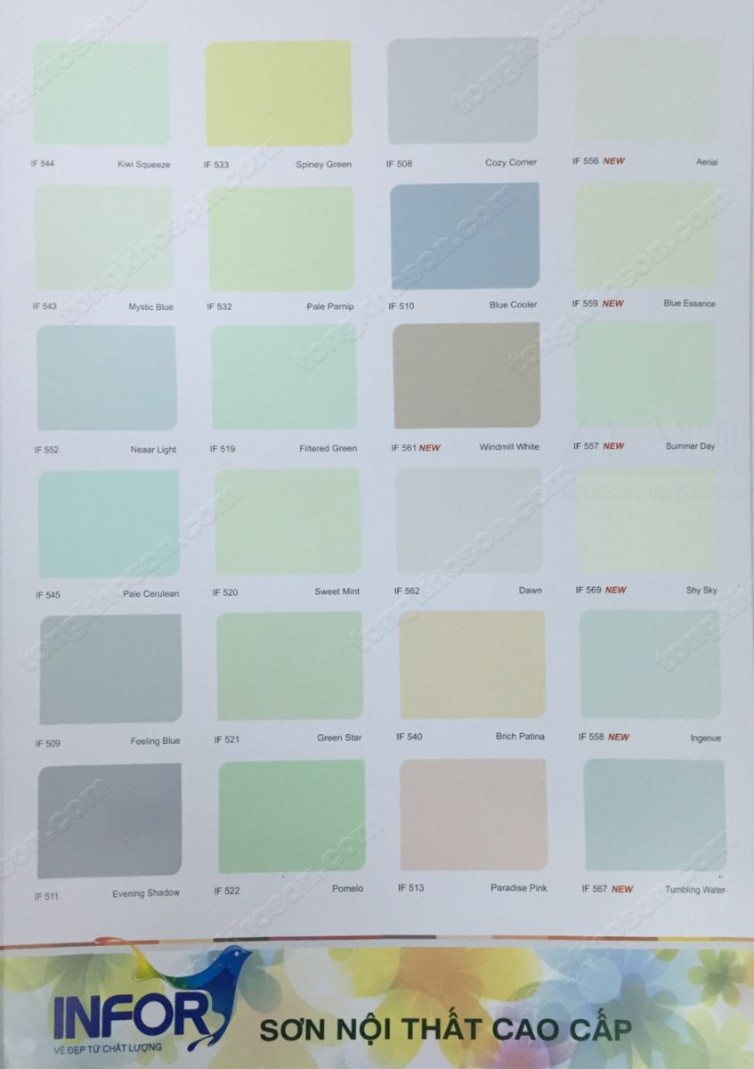 Bảng màu sơn Infor nội thất