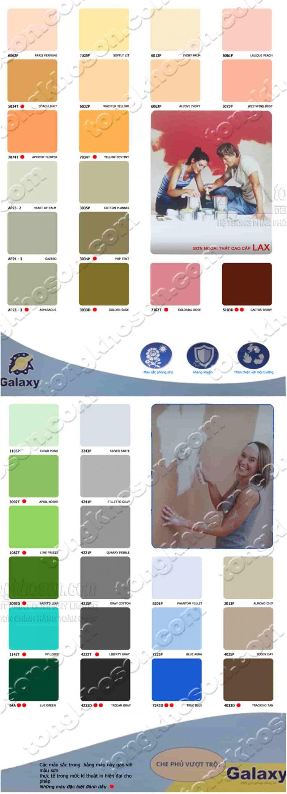Bảng màu sơn ngoại thất Galaxy Lax