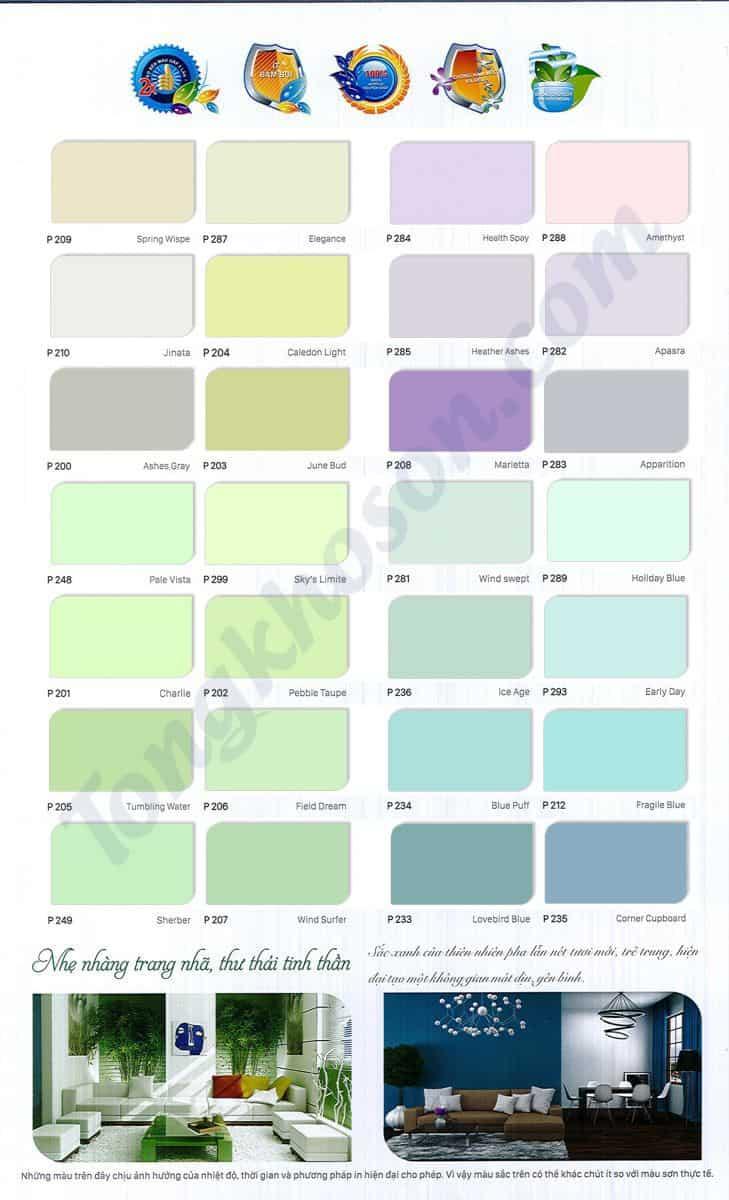 Bảng màu sơn nội thất Spentec cao cấp