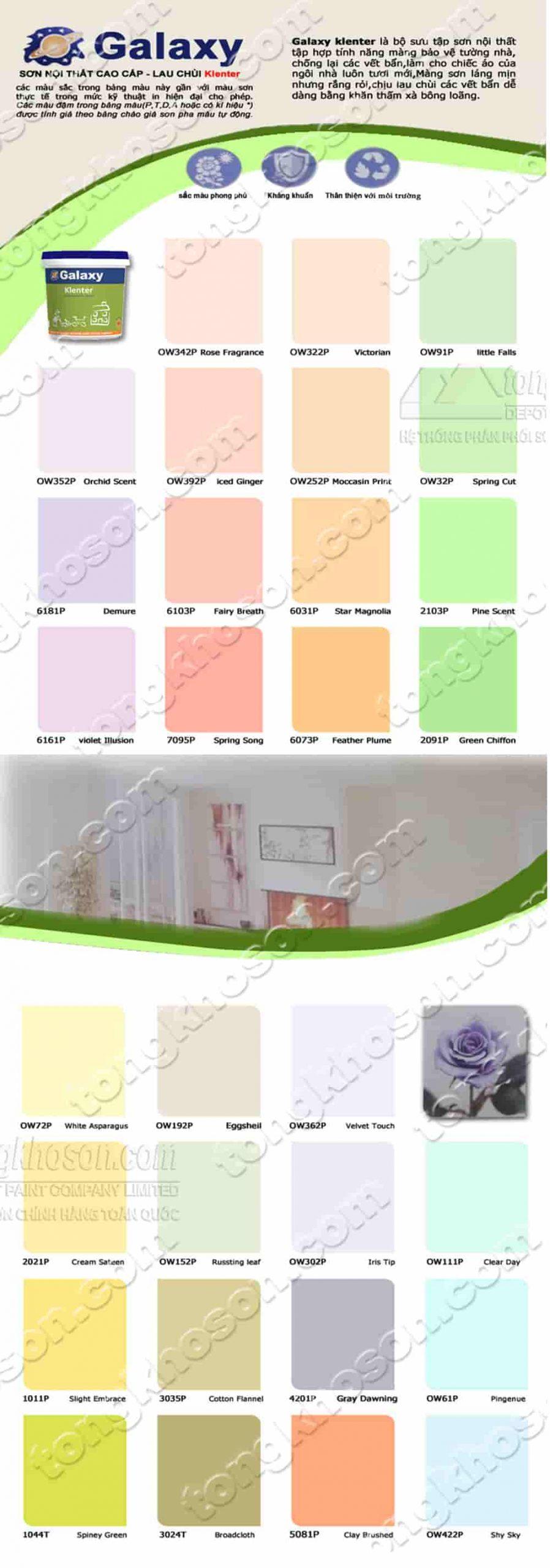 Bảng màu sơn nướcGalaxy Klenter nội thất lau chùi