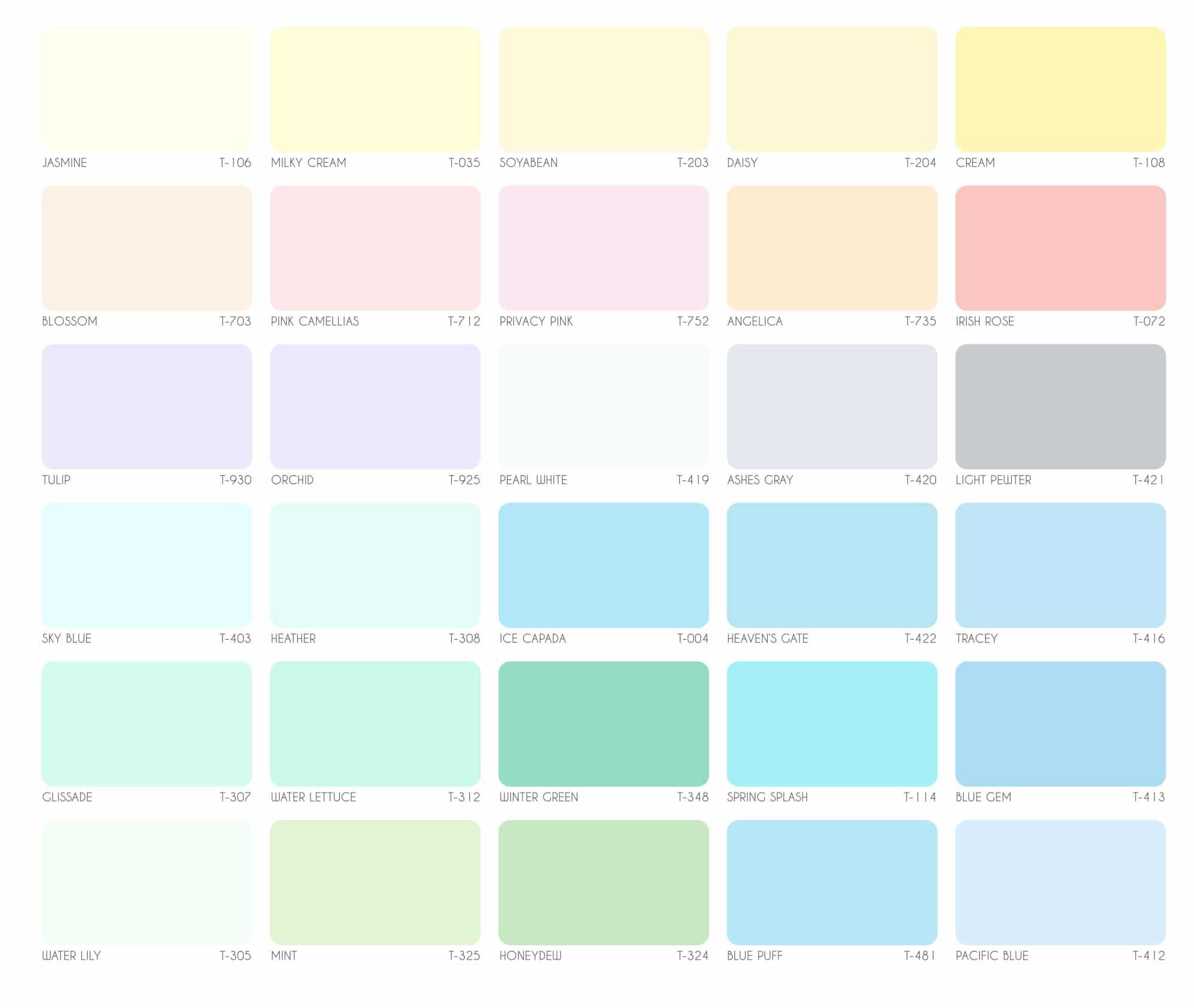 Bảng màu sơn Galant nội thất