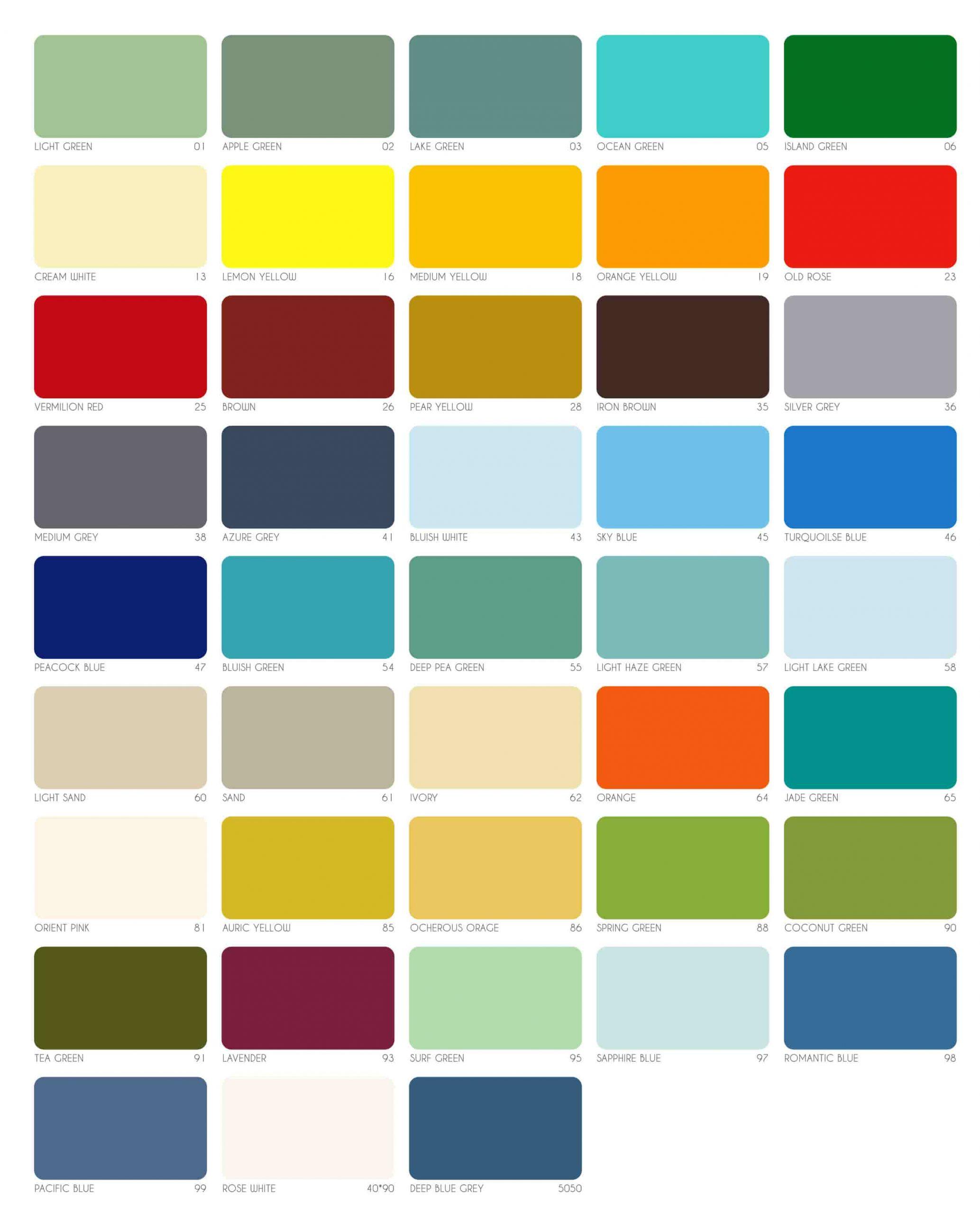 Bảng màu sơn công nghiệp Rainbow