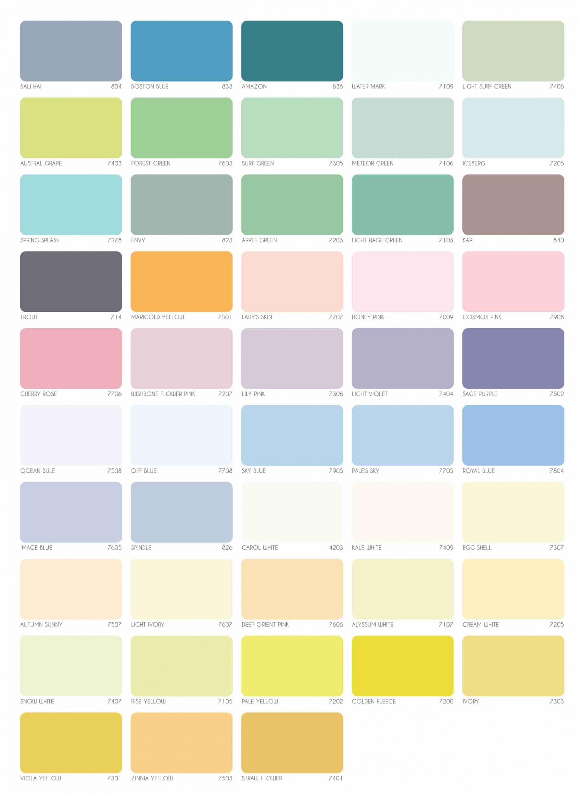 Bảng màu sơn ngoại thất Rainbow