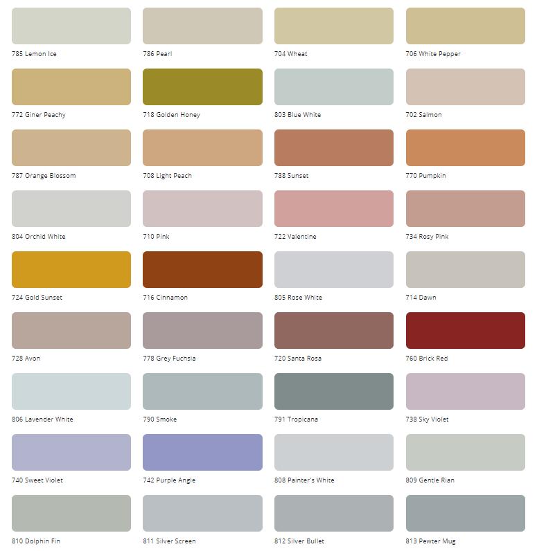 Bảng màu sơn Tison ngoại thất Satin Coat