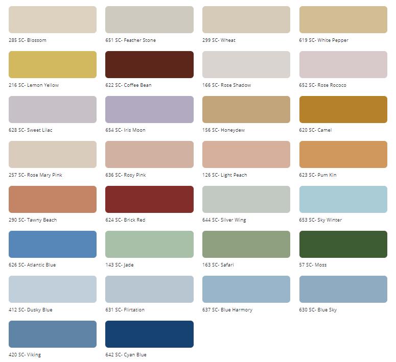 Bảng màu sơn ngoại thất Tison Supercoat Pro