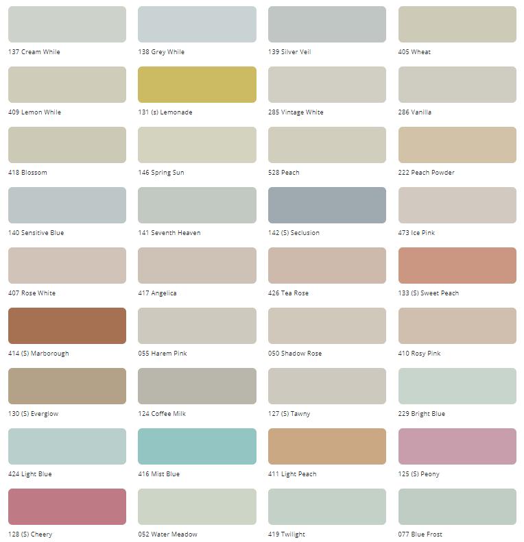 Bảng màu sơn nội thất Tison Unilic Silk Int